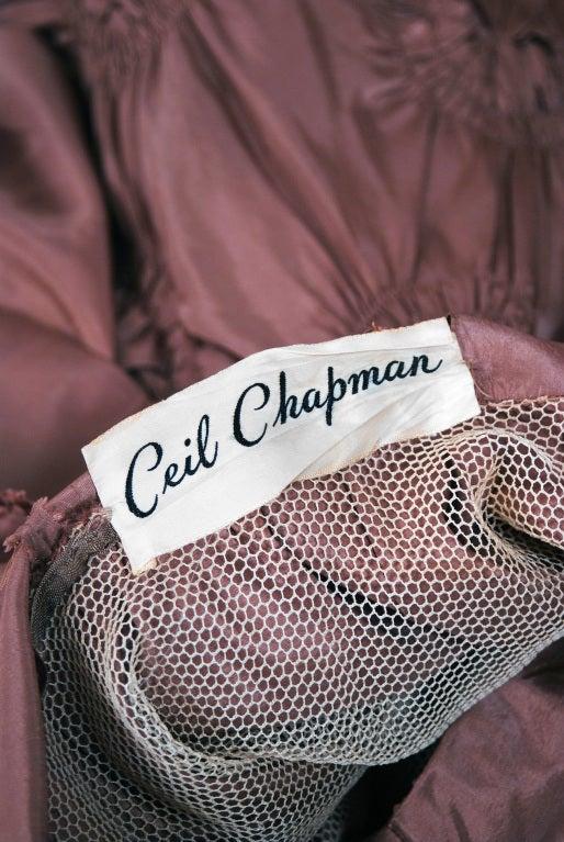 1950's Ceil Chapman Silk-Taffeta Mocha Ruched Full Party Dress 6