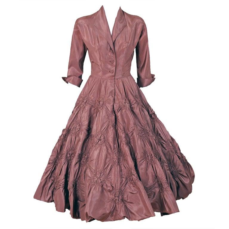 1950's Ceil Chapman Silk-Taffeta Mocha Ruched Full Party Dress 1
