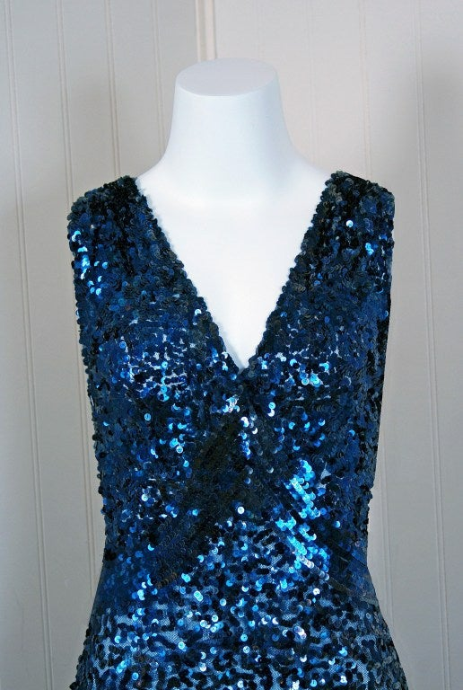 1930's Seductive Sapphire-Blue Sequin Bias-Cut Evening Gown 3