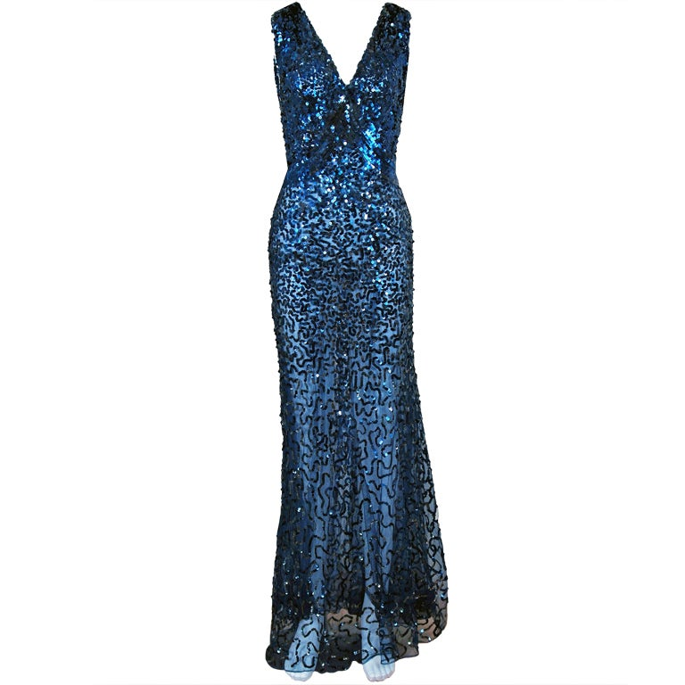 Blue Sequin Evening Gowns