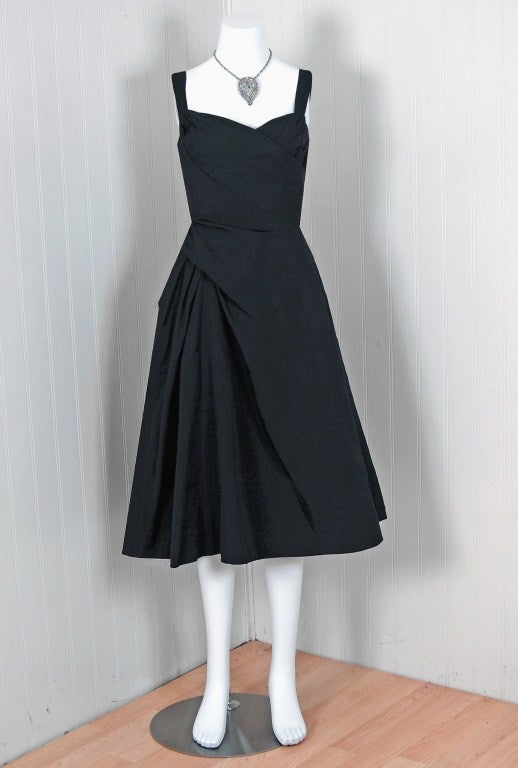1951 Christian Dior Haute-Couture Iconic Asymmetric Silk Dress 2