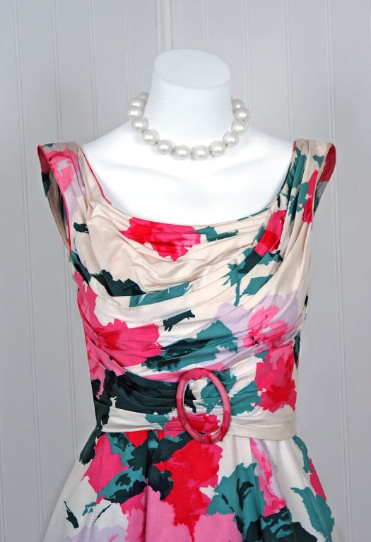 Gray 1950's Ceil Chapman Watercolor Pink Roses Floral Print Ruched-Cotton Dress For Sale