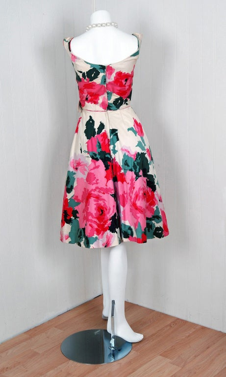 1950's Ceil Chapman Watercolor Pink Roses Floral Print Ruched-Cotton Dress For Sale 1