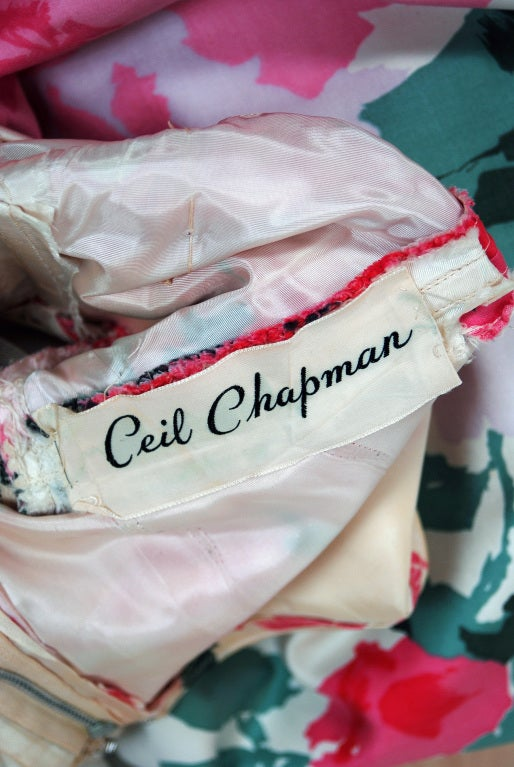 1950's Ceil Chapman Watercolor Pink Roses Floral Print Ruched-Cotton Dress For Sale 2