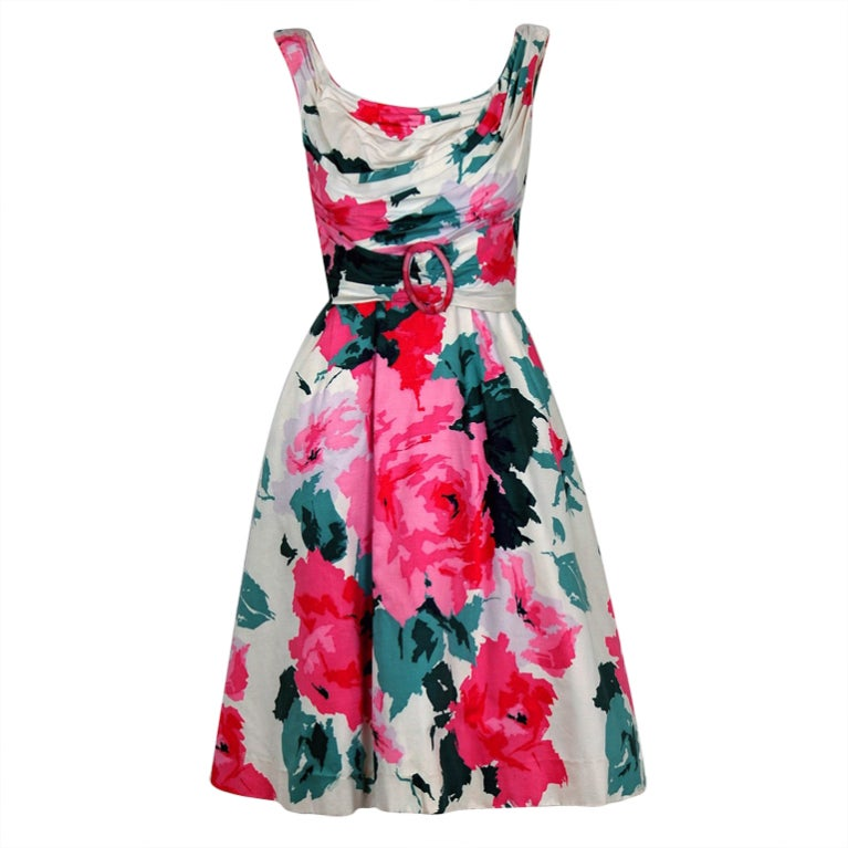 1950's Ceil Chapman Watercolor Pink Roses Floral Print Ruched-Cotton Dress For Sale