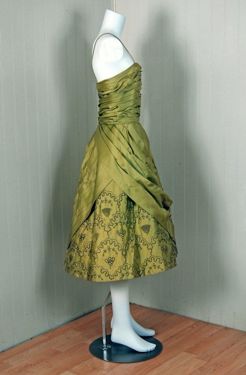 Brown 1950's Stunning Chartreuse-Green Beaded Ruched Satin Full Cocktail Party Dress For Sale