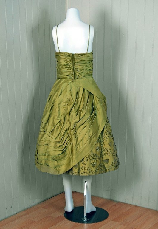 Women's 1950's Stunning Chartreuse-Green Beaded Ruched Satin Full Cocktail Party Dress For Sale