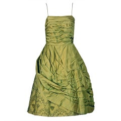 1950's Stunning Chartreuse-Green Beaded Ruched Satin Full Cocktail Party Dress