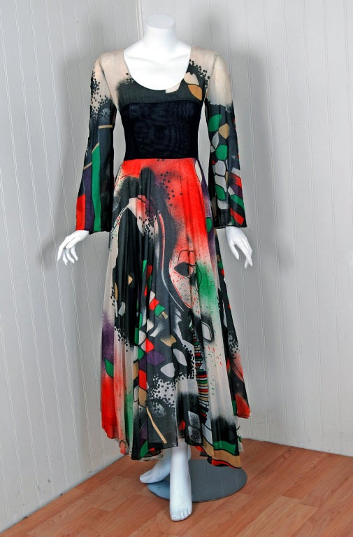 1970's Thea Porter Couture Rare Colorful Cosmic Handpainted Maxi Gown 2