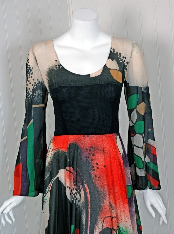 1970's Thea Porter Couture Rare Colorful Cosmic Handpainted Maxi Gown 3