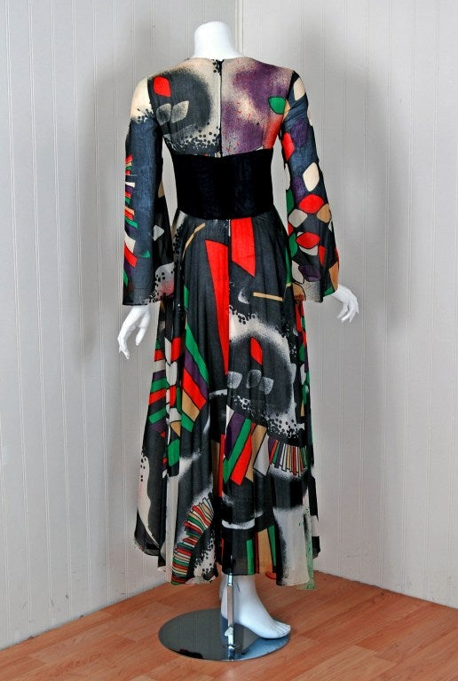 1970's Thea Porter Couture Rare Colorful Cosmic Handpainted Maxi Gown 5