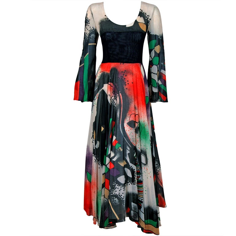 1970's Thea Porter Couture Rare Colorful Cosmic Handpainted Maxi Gown 1
