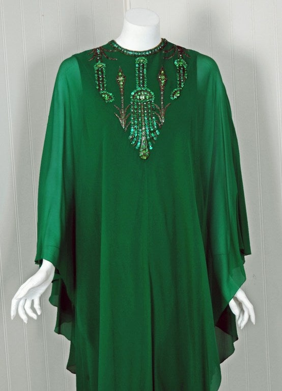 Blue 1965 Pierre Cardin Haute-Couture Beaded Green Silk-Chiffon Caftan Gown For Sale