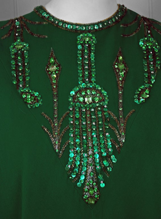 1965 Pierre Cardin Haute-Couture Beaded Green Silk-Chiffon Caftan Gown In Excellent Condition For Sale In Beverly Hills, CA