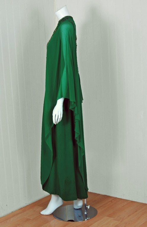 Women's 1965 Pierre Cardin Haute-Couture Beaded Green Silk-Chiffon Caftan Gown For Sale