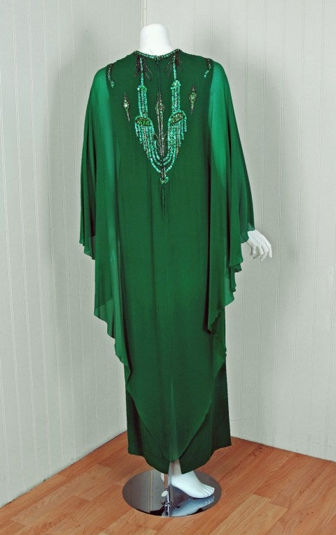 1965 Pierre Cardin Haute-Couture Beaded Green Silk-Chiffon Caftan Gown For Sale 1
