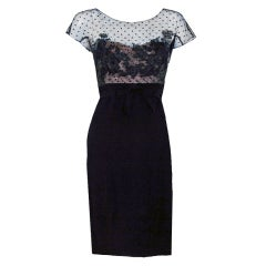 1950's Peggy Hunt Sheer Lace Illusion Hourglass Cocktail Dress