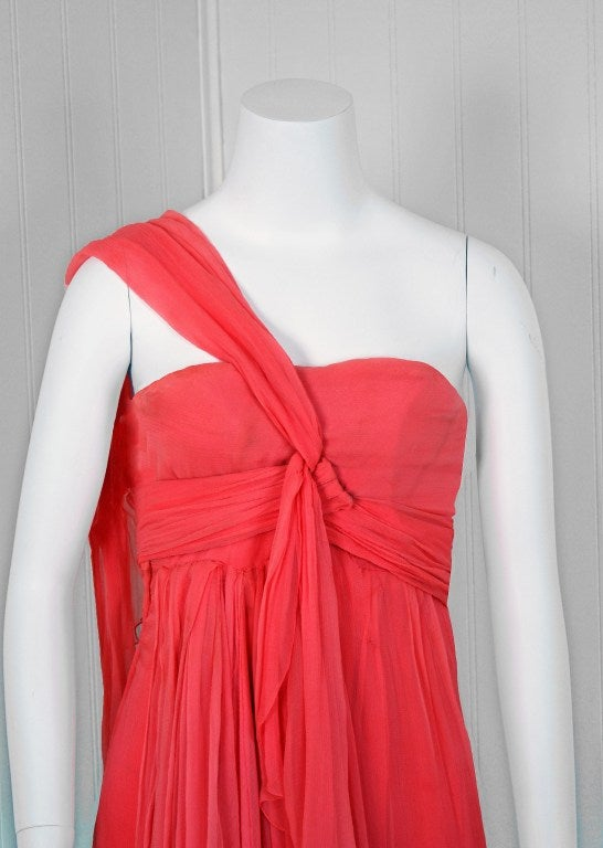 Christian Dior NY Documented Pink One-Shoulder Silk Chiffon Grecian Gown, 1957  In Excellent Condition For Sale In Beverly Hills, CA