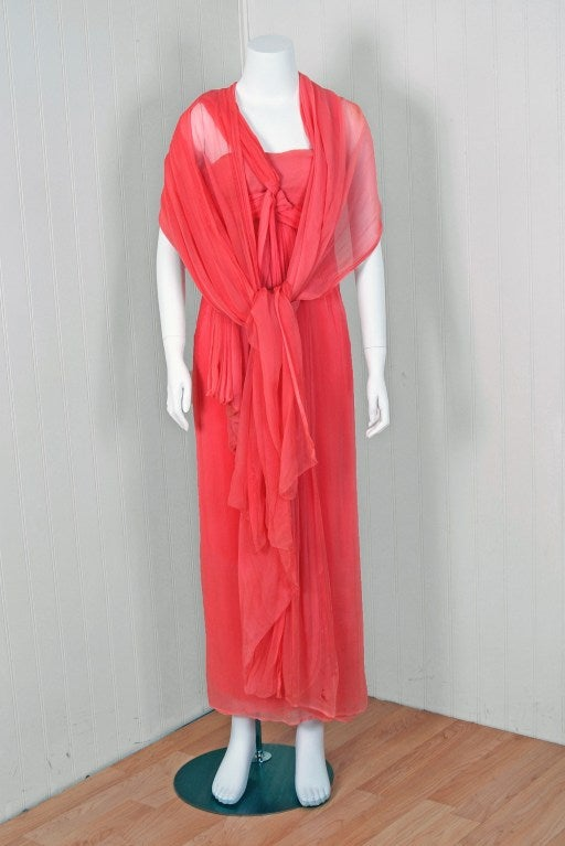 Women's Christian Dior NY Documented Pink One-Shoulder Silk Chiffon Grecian Gown, 1957  For Sale