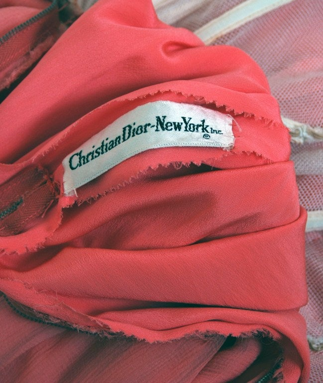 Christian Dior NY Documented Pink One-Shoulder Silk Chiffon Grecian Gown, 1957  For Sale 2