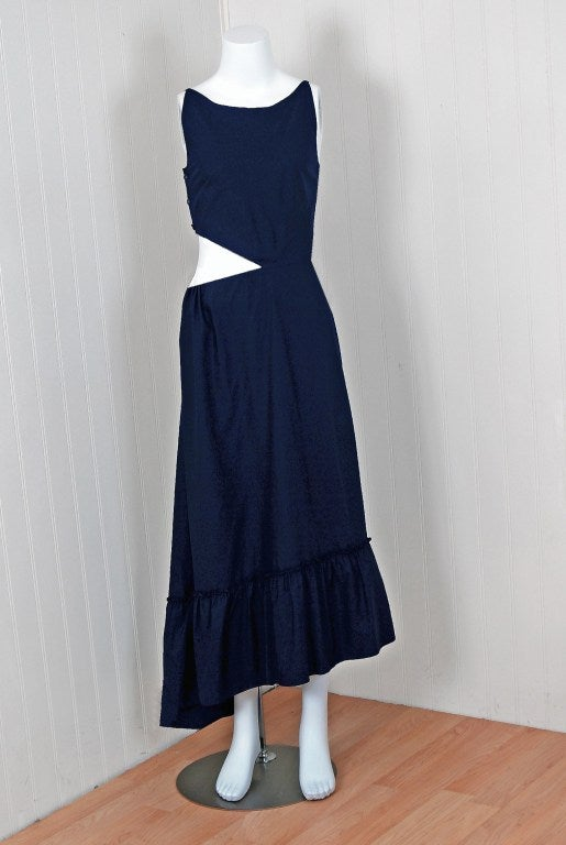 1990's Chanel Asymmetric Cut-Out Navy-Blue Cotton Maxi Day Dress 2