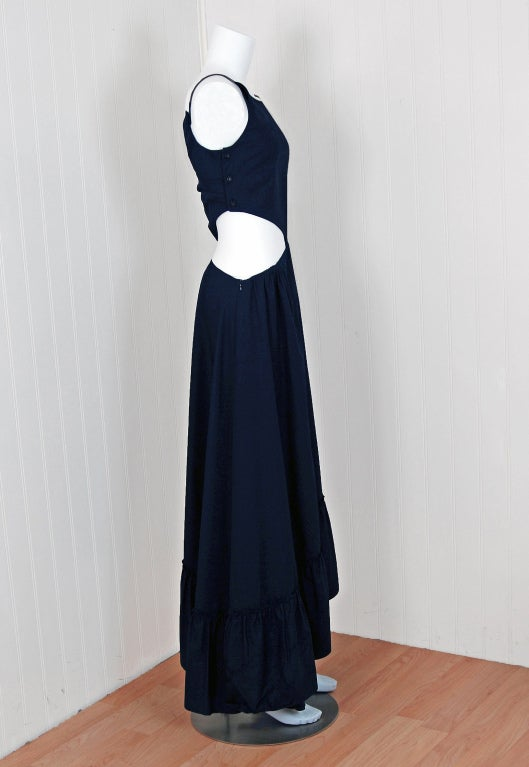 1990's Chanel Asymmetric Cut-Out Navy-Blue Cotton Maxi Day Dress 3