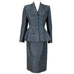 1940's Lilli-Ann Charcoal Gray Rhinestone Silk Wiggle Dress Suit