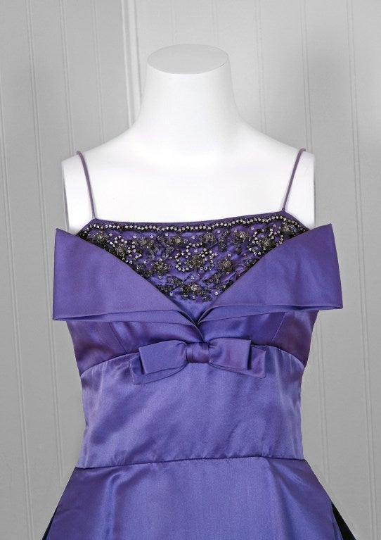 Pab Lilac Purple Rhinestone Beaded Satin Shelf Bust Party Dress, 1950s  In Excellent Condition For Sale In Beverly Hills, CA