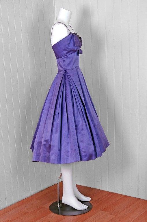 Pab Lilac Purple Rhinestone Beaded Satin Shelf Bust Party Dress, 1950s  For Sale 1