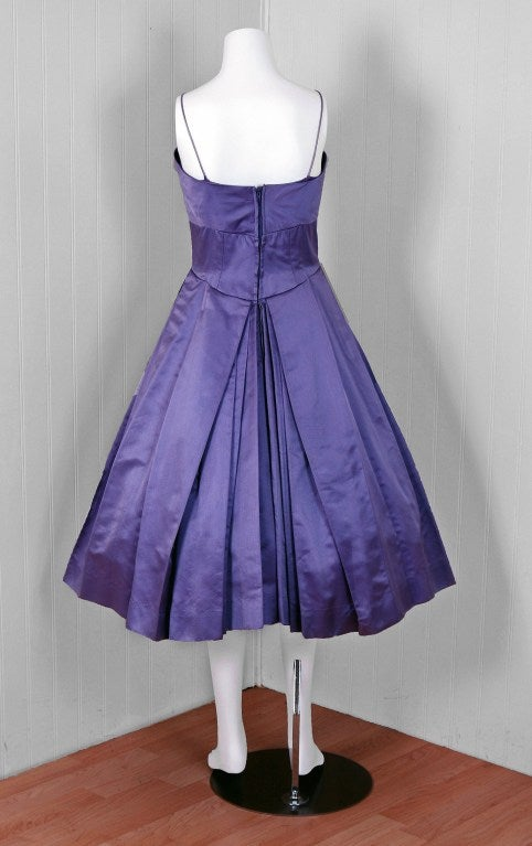 Pab Lilac Purple Rhinestone Beaded Satin Shelf Bust Party Dress, 1950s  For Sale 2