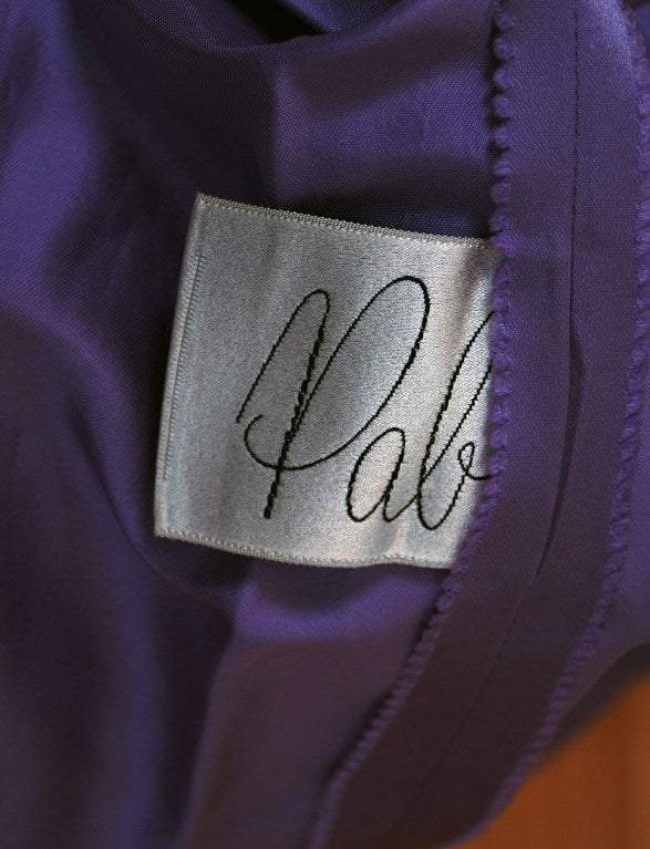 Pab Lilac Purple Rhinestone Beaded Satin Shelf Bust Party Dress, 1950s  For Sale 3