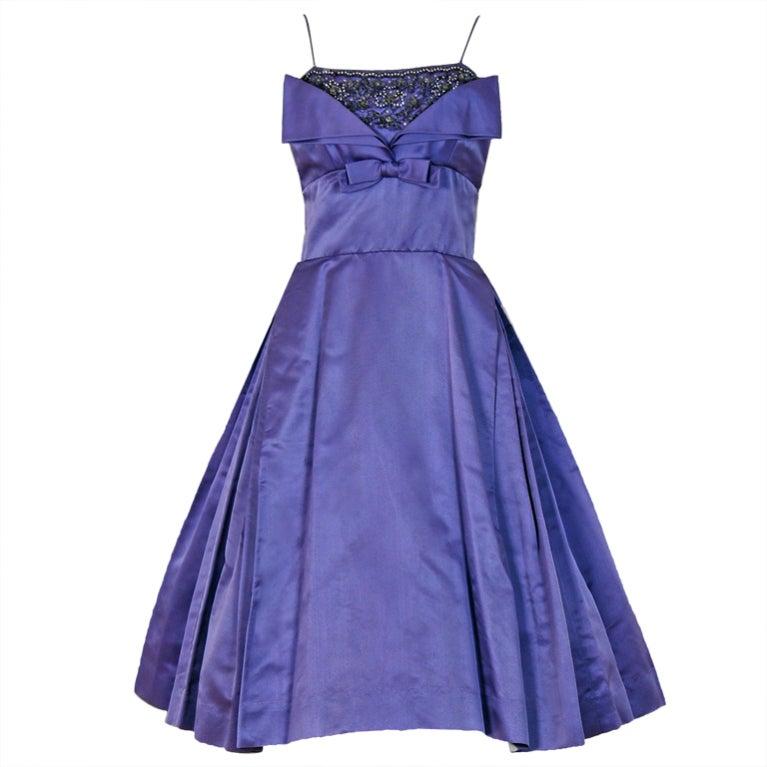 Pab Lilac Purple Rhinestone Beaded Satin Shelf Bust Party Dress, 1950s  For Sale