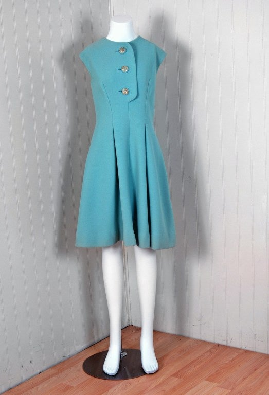1960's Pauline Trigere Baby-Blue Studded Crepe Dress & Cape Set 2