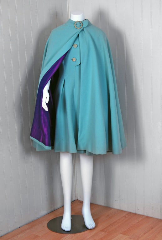 1960's Pauline Trigere Baby-Blue Studded Crepe Dress & Cape Set 3