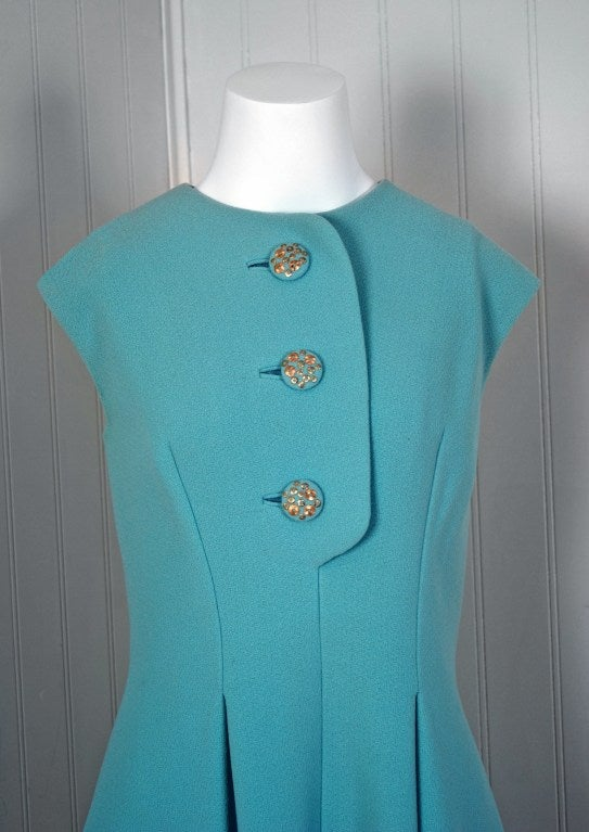 1960's Pauline Trigere Baby-Blue Studded Crepe Dress & Cape Set 4