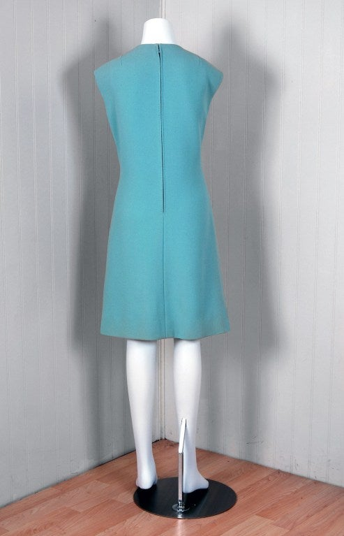 1960's Pauline Trigere Baby-Blue Studded Crepe Dress & Cape Set 6