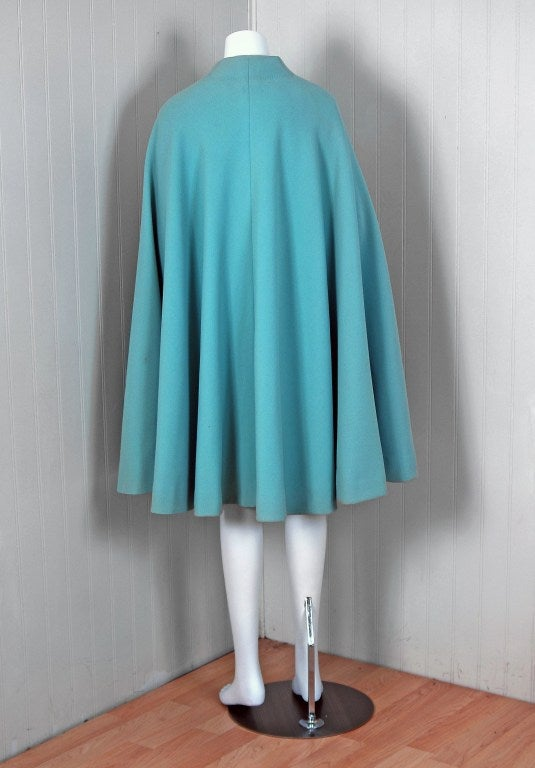 1960's Pauline Trigere Baby-Blue Studded Crepe Dress & Cape Set 7
