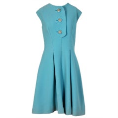 1960's Pauline Trigere Baby-Blue Studded Crepe Dress & Cape Set