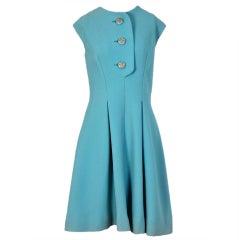 1960's Pauline Trigere Baby-Blue Studded Crepe Dress & Cape Set