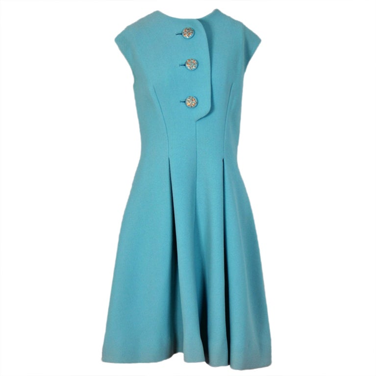 1960's Pauline Trigere Baby-Blue Studded Crepe Dress & Cape Set 1