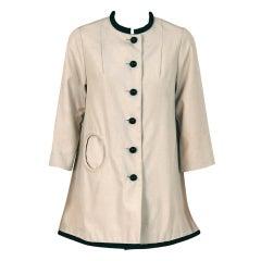 1966 Courreges Couture Black & Khaki Rare Space-Age Mod Jacket