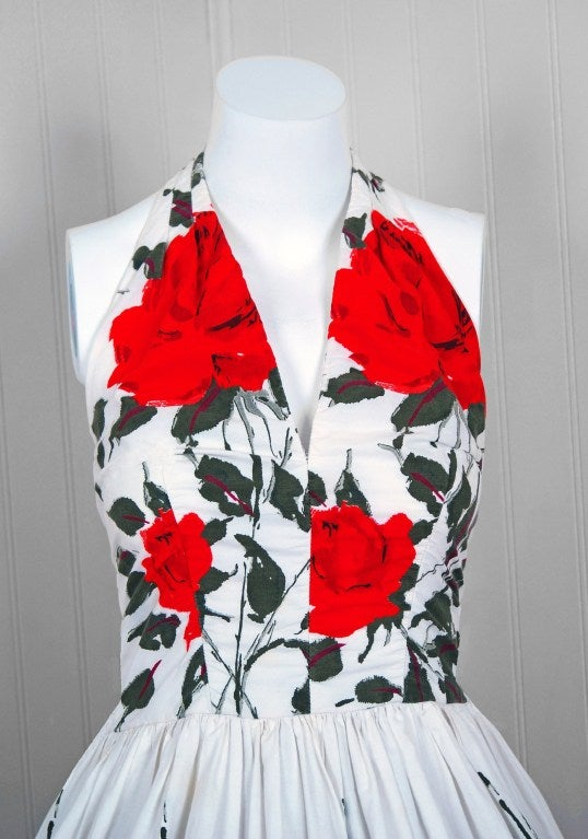 1950's Red-Roses Watercolor Floral-Print Cotton Halter Dress 3