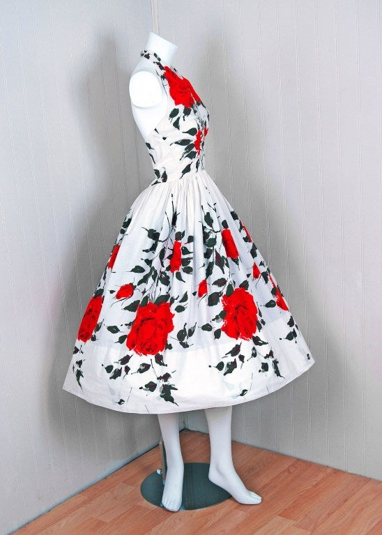 1950's Red-Roses Watercolor Floral-Print Cotton Halter Dress 5
