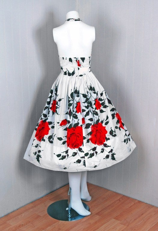 1950's Red-Roses Watercolor Floral-Print Cotton Halter Dress 6