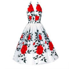 1950's Red-Roses Watercolor Floral-Print Cotton Halter Dress