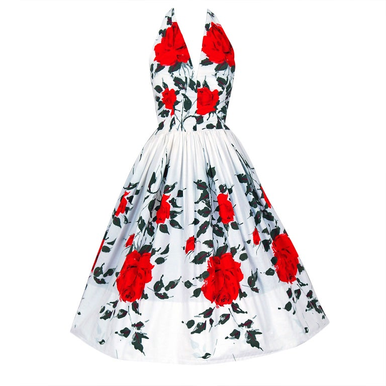 1950's Red-Roses Watercolor Floral-Print Cotton Halter Dress 1