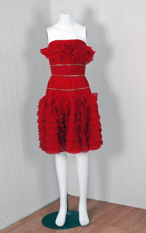 1980's Chanel Strapless Red-Silk Gold-Chains Ruffle Party Dress 2