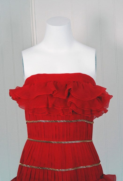 1980's Chanel Strapless Red-Silk Gold-Chains Ruffle Party Dress 3