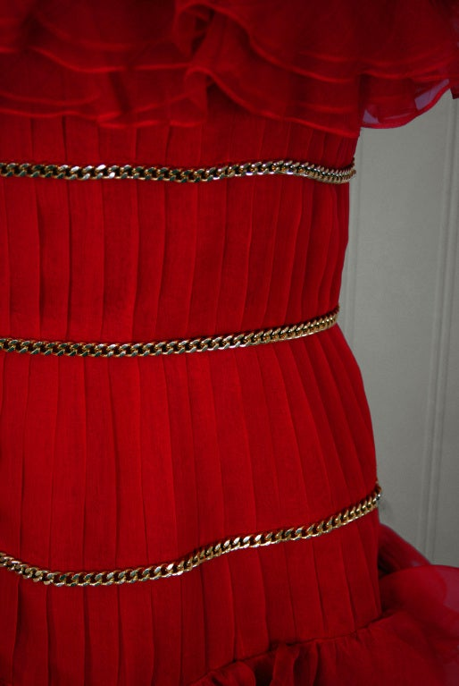 1980's Chanel Strapless Red-Silk Gold-Chains Ruffle Party Dress 4