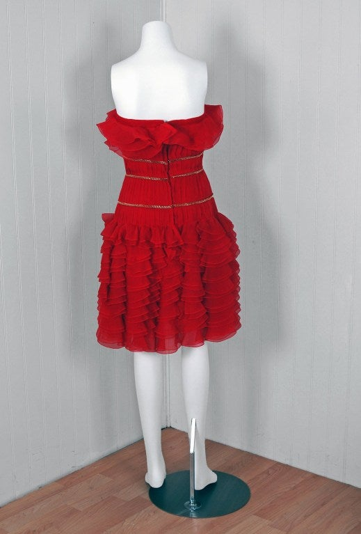 1980's Chanel Strapless Red-Silk Gold-Chains Ruffle Party Dress 5